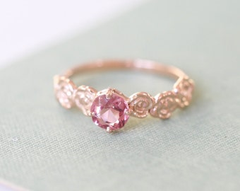 9ct Rose Gold Pink Peach Spinel Floral Alternative Engagement Ring