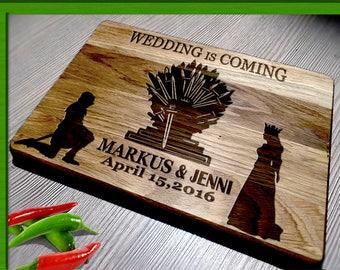 game of thrones wedding  / wedding is coming  / Cutting Board Wedding Gift / game of thrones cutting board / wedding cutting board