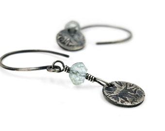 Aquamarine Earrings rustic sterling silver earthy drop earrings handmade bohemian light blue earrings clear blue March birthstone earrings
