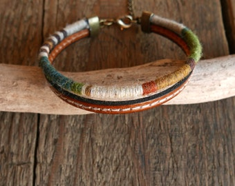 Gift for mens, Leather bracelet, Mens Bracelet, Woven and braided bracelet, Bohemian bracelet, Boyfriend gift, Mens gift, Dad gift