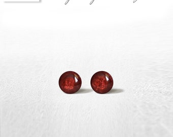 4mm Carmine Stud Earrings Mini Tiny Shimmery - Stainless Steel Gold Plated Posts plus High Quality Epoxy Resin - Moon Line N162
