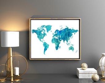 World Map Lovely Blue Turquoise World Map Wall Art World Map Print  Watercolor Weltkarte Blue Turquoise