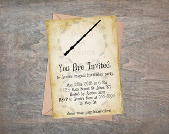birthday party invitation harry potter themed instant download print at home - Harry Potter Party Invitations