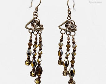"""Earrings """"Illuminations"""" / / wire weaving (coiled wire)"""