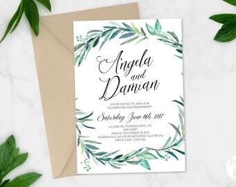 Printable Engagement Party Invitation | Australian | DIY Printable | Watercolour Watercolor | Leaves Greenery green eucalyptus