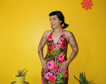 Vintage 1970's Neon Floral day glow maxi halter dress