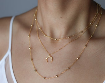 Dainty Necklace - Gold Crescent Moon Necklace - Double Horn Necklace - Bohemian Jewelry - Half Moon Necklace - Minimalist Necklace