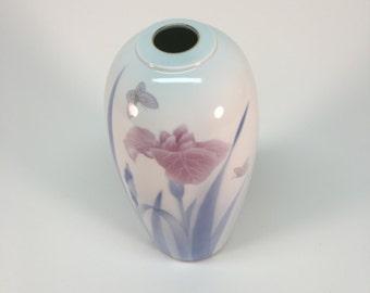 Fukagawa 'Iris in the Mist' porcelain vase
