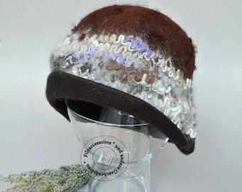 Felt Cloche Hat hand felted Merino Alpaca of brown chocolate winter accessories winter Hat winter fashion