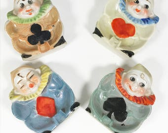 Lusterware Clown Card Suit / Bridge Ashtrays - Made in Japan - Set of 4