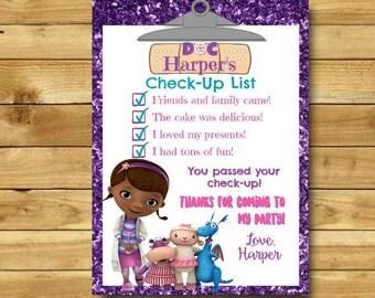 Doc McStuffins Thank You Card, Doc McStuffins Party, Doc McStuffins Birthday Party, Doc Mcstuffins Checklist, McStuffins Check-Up List, 4x6