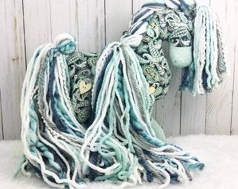 Mint Paisley Cotton Pony - horse stuffed animal; stuffed horse; stuffed pony; stuffed animal horse; plush horse; Bar H Designs; toy horse