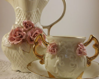 Pink roses pitcher and urn antique white and gold