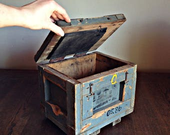 Vintage Wooden Box, Industrial box, Factory box, Soviet military Box, Vintage Tool Box, Wooden Tool Box, Army Box Army Decor Vintage Storage