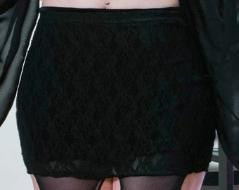 Gothic Black Lace Skirt / Gothic Clothing Stretch Lace Mini / Black Lace Mini Skirt / Nu Goth Clothing / Macha Stretch Lace Mini Skirt