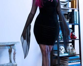 Gothic Velvet Bodycon Dress / Velvet Little Black Dress / Nu Goth Clothing / Gothic Bodycon LBD / Coatlicue Velvet Mini Dress