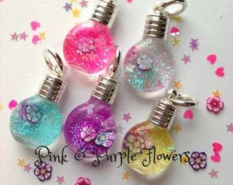 Pink & Purple Flower Snowglobe Necklace