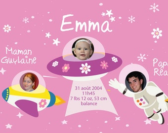 Baby Announcement Cards - Girl / space