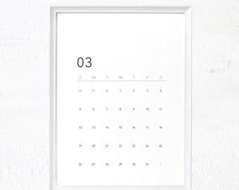 Minimalist 2017 printable calendar, 2017 calendar download, modern desk calendar, simple wall calendar letter size instant download calendar