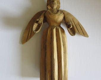 Folk Art Primitive Angel Sculpture Hand Carved