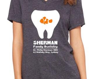 Ladies Relaxed V-Neck Finding Nemo Shirt Sherman Family Dentistry P. Sherman 42 Wallaby Way, Sydney. Disneyland Shirt Disney World Shirt