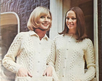 Ladies Cable Cardigan Knitting Pattern, King Cole Knitting Pattern, Ladies Cable Collared Cardigan, Ladies Cable Cardigan, King Cole No 3038
