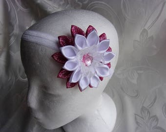 Banner baptism or communion with white satin and organza rose/Fleur kanzashi flower/headband