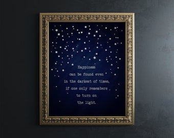 Harry Potter Wall Art Gold Foil Print - Harry Potter Quotes - Harry Potter Decor - Albus Dumbledore Quote Happiness Can Be Found in Darkest