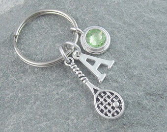 Tennis keychain, tennis keyring, personalized keychain, initial keychain, swarovski birthstone, sports keychain, tennis racket, tennis gift