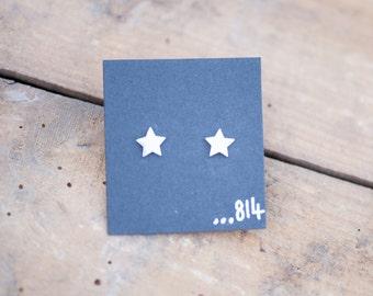 Little Star Stud Earrings Handmade from Sterling Silver