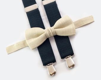 groomsmen bow tie suspenders beige bow tie & black suspenders wedding groomsmen outfit