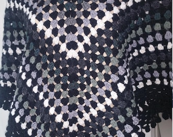 Lovely Retro/Boho Look  Hand Crochet Fringed Poncho S/M Shades Of Black Sale