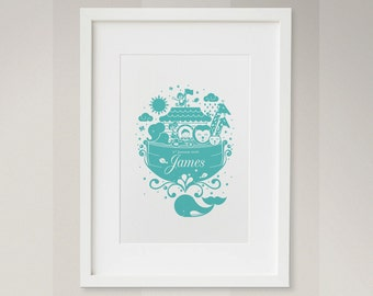 Noah's Ark Print - Boys Version - new baby wall art - childrens print