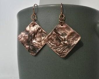 Textured hammered copper diamond shaped artisan boho organic earrings