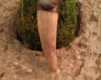 Soldered Antler Tip Pendant with Accent Stone