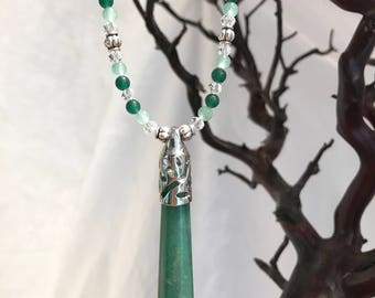 Aventurine Crystal Point Necklace