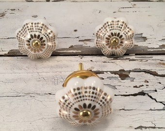 Decorative Gold & White Pumpkin Knob, Ceramic Knobs, Furniture Pulls For Cabinets or Drawers, Item #498299300