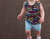 Summer tank top, summer shirt, toddler clothing, summer clothing, ice cream shirt, neon tank, girls tank, boys tank