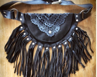 Hipbag - SUN black with long fringes
