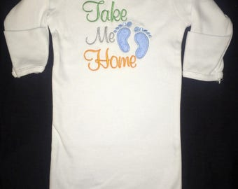 Take Me Home appliqued infant gown with appliqued baby feet