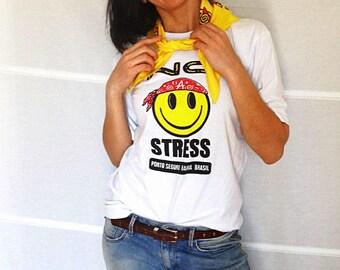 No Stress t-shirt with bandana Keep Calm t-shirt Smiley tshirt Brazil tee and Brazil bandana vintage 1980s 1990s size  10 12