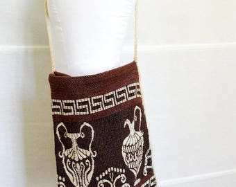Crossbody carpet bag cross body tote bag ethnic brown tribal bag hobo canvas bag crossbody kilim bag  shoulder bag with tassles hippie bag