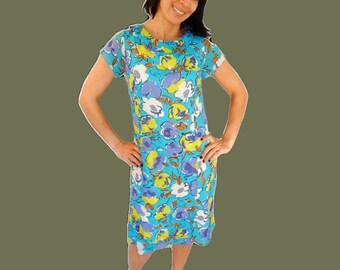 Summer midi dress chiffon floral dress blue yellow dress boat bateau neckline size M Medium