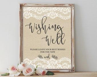 rustic wishing well sign printable wishing well sign well wishes sign wedding sign reception sign template