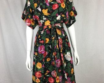 Vtg 70s 80s floral silk Albert Nipon kimono rose print dress