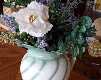 Antique chamber pitcher, Chamber Pitcher Green Swirl Pattern, Farmhouse , Shabby chic pitcher, Cottage chic decor, antique chamber pitcher