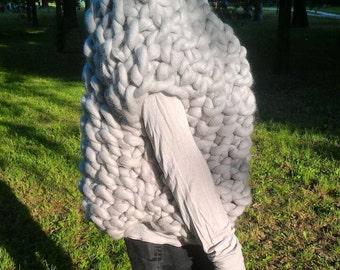 Oversized cardigan, Chunky Knit Vest, Arm knit Vest, Merino wool Vest, Giant Knit vest, Knitted vest