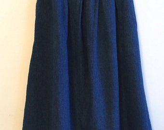 Denim Skirt - A line Skirt - Jeans Skirt - High Waist Skirt - Pleated Skirt