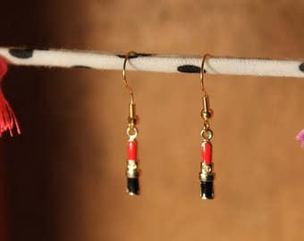 Red Lipstick Earrings, Chanel Earrings, Lipstick Earrings, Makeup Earrings, Beauty Earrings