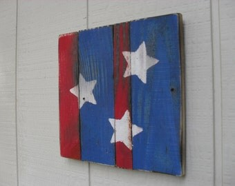 Reclaimed Wood Wall Art Stars and Stripes Patriotic Americana Country Primitive Fourth of July Red White and Blue